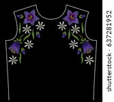 embroidery neck line pattern... | Shutterstock .eps vector #637281952