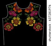 embroidery neck line pattern... | Shutterstock .eps vector #637281976