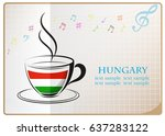 coffee logo made from the flag... | Shutterstock .eps vector #637283122