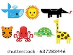 set of cute bright african... | Shutterstock .eps vector #637283446