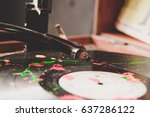 close up of vintage vinyl... | Shutterstock . vector #637286122