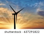 silhouet a wind generator...   Shutterstock . vector #637291822