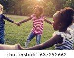 group of kindergarten kids... | Shutterstock . vector #637292662