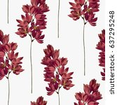 botanical seamless pattern.... | Shutterstock .eps vector #637295248