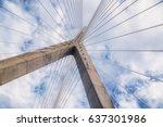 cable stayed bridge. leonard p.... | Shutterstock . vector #637301986