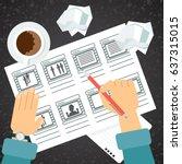 storyboarding process image....   Shutterstock .eps vector #637315015