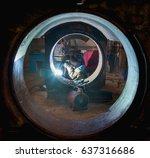 welder with flux core arc... | Shutterstock . vector #637316686