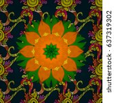 seamless pattern with mandalas. ... | Shutterstock . vector #637319302