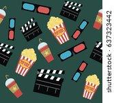 movie seamless pattern design... | Shutterstock .eps vector #637323442