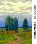 Watercolor Landscape. Twilight...