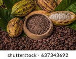 natural cocoa powder with cocoa ... | Shutterstock . vector #637343692