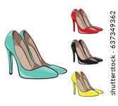 set of women's shoes in various ... | Shutterstock .eps vector #637349362