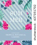 summer time concept of card... | Shutterstock .eps vector #637351702