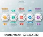 vector abstract 3d paper... | Shutterstock .eps vector #637366282