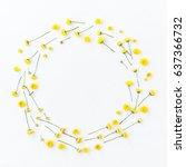 flowers composition. wreath... | Shutterstock . vector #637366732