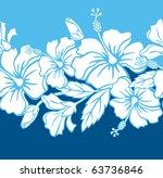 seamless hibiscus hybrid border ...   Shutterstock .eps vector #63736846