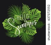 summer sale. tropical palm... | Shutterstock .eps vector #637372552