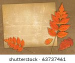 vintage autumn background with blank - stock photo