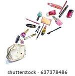 makeup beauty cosmetics.... | Shutterstock . vector #637378486