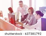 business people working on... | Shutterstock . vector #637381792