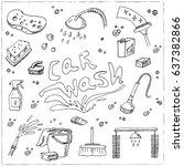 set with car wash doodles.... | Shutterstock .eps vector #637382866