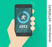 fitness tracking app on mobile... | Shutterstock . vector #637385692