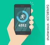 fitness tracking app on mobile... | Shutterstock . vector #637385692
