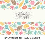 summer time horizontal banner.... | Shutterstock .eps vector #637386595