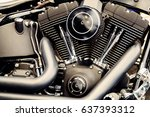 motorcycle chrome engine block... | Shutterstock . vector #637393312