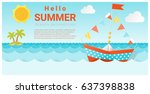 hello summer background with...   Shutterstock .eps vector #637398838