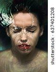 woman under water  fashion photo | Shutterstock . vector #637401208