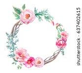 watercolor vintage eucalyptus... | Shutterstock . vector #637402615