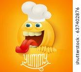 funny emoticon cartoon... | Shutterstock .eps vector #637402876