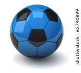 Blue Soccer Ball Isolated On...