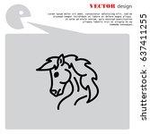 web line icon. horse  wild... | Shutterstock .eps vector #637411255