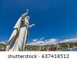 santa margherita statue at... | Shutterstock . vector #637418512