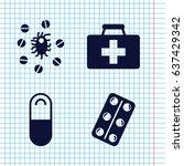 set of 4 aspirin filled icons... | Shutterstock .eps vector #637429342