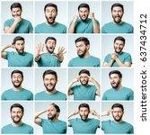 set of handsome emotional man... | Shutterstock . vector #637434712