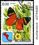 "Small photo of NICARAGUA - CIRCA 1982: A Stamp printed in NICARAGUA shows image of a Butterfly with the description ""Callizona acesta"", series, circa 1982"