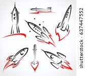 rockets collection set. vector | Shutterstock .eps vector #637447552