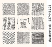 hand drawn textures   brush... | Shutterstock .eps vector #637448128