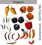 Small photo of variety of peppers isolated