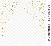 golden tiny confetti and... | Shutterstock .eps vector #637457506