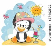 greeting card penguin in a cap... | Shutterstock .eps vector #637462522