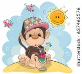 greeting card cute monkey in a... | Shutterstock .eps vector #637462576