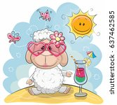 Greeting Card Cute Sheep In Sun ...