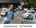 taxi  young man hailing a taxi . | Shutterstock . vector #637462966