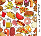 food seamless pattern. feed... | Shutterstock . vector #637470265