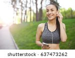 morning jog with wonderful... | Shutterstock . vector #637473262