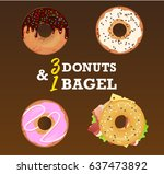 four tasty flavored bagels and... | Shutterstock .eps vector #637473892
